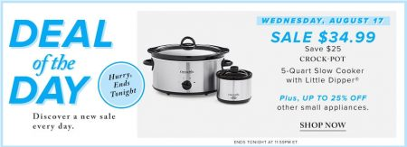 Hudson's Bay Deal of the Day - $34.99 for Crock-Pot 5-Quartz Slow Cooker withe Little Dipper (Aug 17)