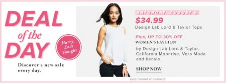 Hudson's Bay Deal of the Day - $34.99 for Design Lab Lord & Taylor Tops, Plus 30 Off Women's Fashion (Aug 6)