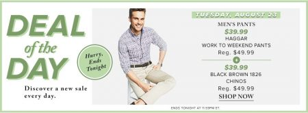Hudson's Bay Deal of the Day - $39.99 for Men's Pants (Aug 23)