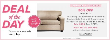 Hudson's Bay Deal of the Day - 50 Off Sofa Beds (Aug 7)