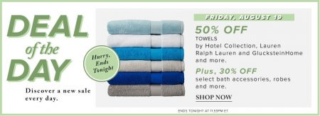 Hudson's Bay Deal of the Day - 50 Off Towels, 30 Off Bath Accessories (Aug 19)