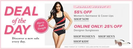 Hudson's Bay Deal of the Day - 55 Off Women's Swimsutes & Cover-ups, 25 Off Designer Sunglasses (Aug 1)