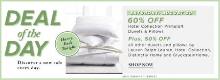 Hudson's Bay Deal of the Day - 60 Off Hotel Collection Primaloft Duvets & Pillows (Aug 20)