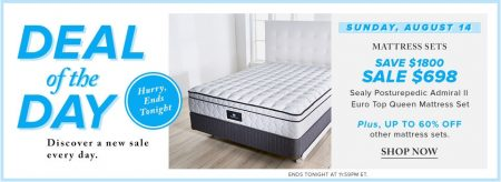 Hudson's Bay Deal of the Day - 72 Off Sealy Posturepedic Admiral II Euro Top Queen Mattress Set (Aug 14)