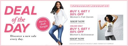 Hudson's Bay Deal of the Day - Buy 1 Get 1 50 Off Women's Fall Denim and Women's Activewear (Aug 11)