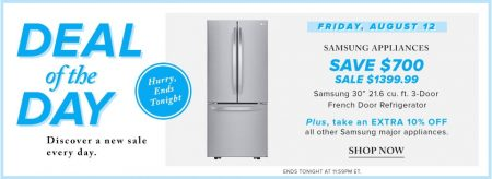 Hudson's Bay Deal of the Day - Up to 30 Off Samsung Appliances (Aug 12)