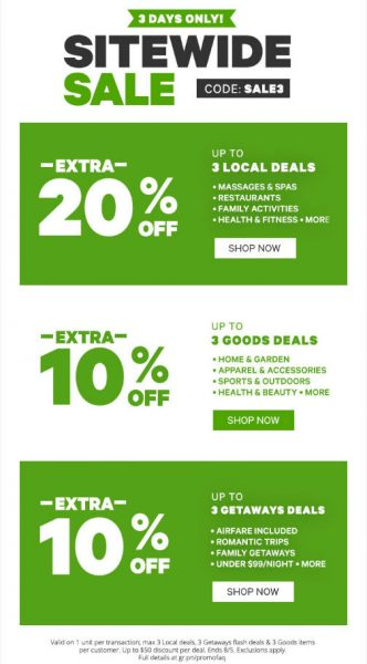 REMINDER Groupon.com - Sitewide Sale - Extra 20 Off Local Deals (Aug 3-5)