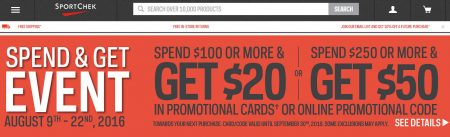 Sport Chek Spend & Get Event - Spend $100 Get $20 Gift Card, or Spend $250 Get $50 Gift Card (Aug 9-22)