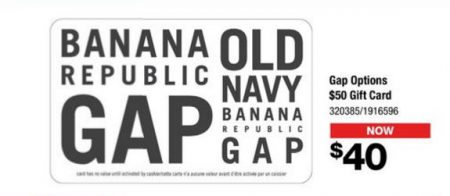 Staples 20 Off Gift Cards to GAP, Banana Republic, Old Navy and Roots (Until Aug 23)