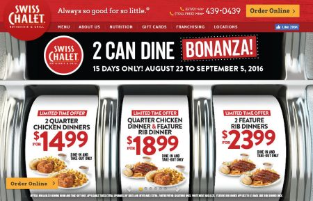 Swiss Chalet 2 Can Dine Bonanza (Aug 22 - Sept 5)