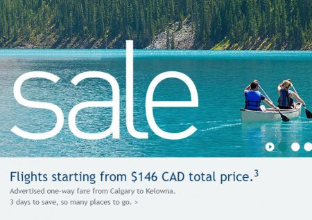 WestJet 3-Day Seat Sale (Aug 9-11)