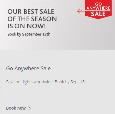Air Canada Best Sale of the Season (Book by Sep 13)