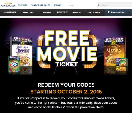 Cineplex FREE Movie Ticket on specially marked General Mills Products