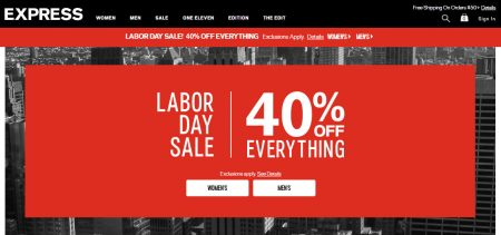 Express 40 Off Everything (Sept 1-5)