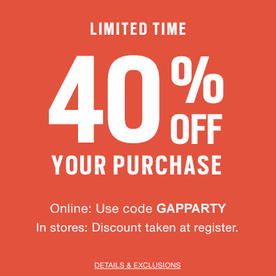GAP Labour Day Sale - 40 Off Your Purchase Promo Code (Sept 3-5)