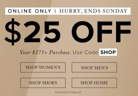 Hudson's Bay $25 Off Your $175+ Purchase Promo Code (Sept 2-4)
