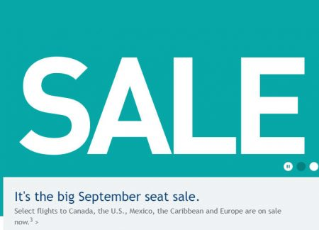 WestJet Big September Seat Sale (Sept 6-8)