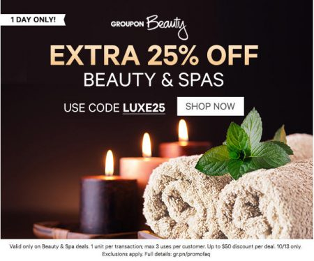 GROUPON: Today Only - Extra 25% Off Beauty & Spa Deals ...