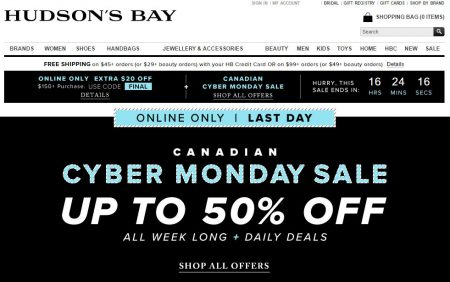 hudsons-bay-canadian-cyber-monday-sale-up-to-50-off-extra-20-off-promo-code-oct-7-13