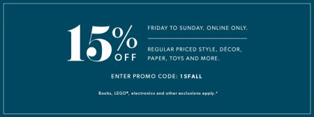 indigo-extra-15-off-regular-priced-items-promo-code-friday-sunday
