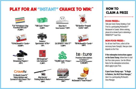 Mcdonalds monopoly instant win prizes canada