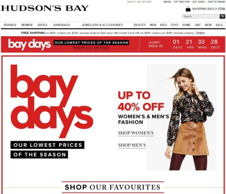 Hudson bay discount coupon
