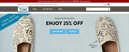 addcaefdebe4 TOMS.ca  Cyber Monday Sale – Up to 40% Off + Extra 15% Off Promo ...