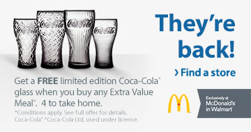c542276a7246b2 Walmart McDonald's: Free Coke Glass with Extra Value Meal ...