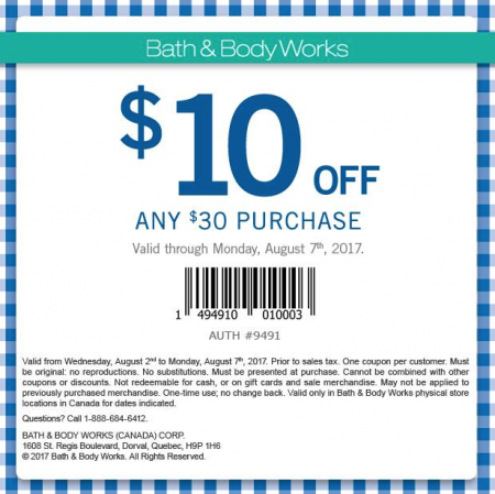 7821db3de6bcf Bath & Body Works: $10 Off Any $30 Purchase Coupon (Until Aug 7 ...