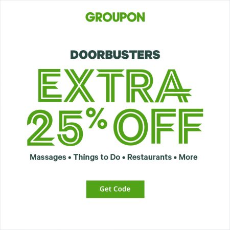 GROUPON: Surprise Sale – Extra 25% Off Local Deals Promo Code (Nov 9