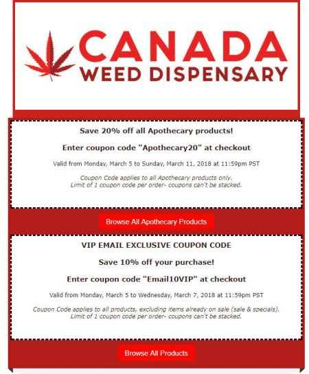 Promo codes edmonton deals blog canadaweeddispensary up to 20 off coupon code mar 5 11 fandeluxe Choice Image