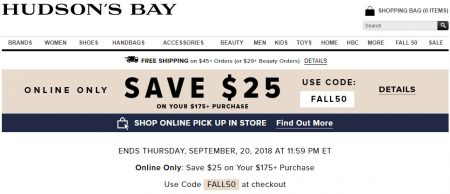 Hudson S Bay Online Only Save 25 Off Your 175 Purchase Promo Code Until Sept 20 Calgary Deals Blog