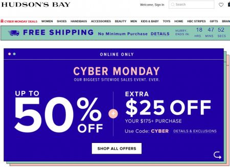 3224122266ce Hudson's Bay: Cyber Monday – Up to 50% Off + Extra $25 Off $175 Purchase +  Free Shipping All Orders (Nov 26)
