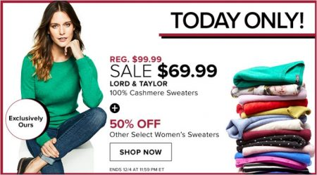 25d46e3cdc65 TheBay.com: Today Only – Sale $69.99 for Lord & Taylor 100% Cashmere  Sweaters (Dec 4)