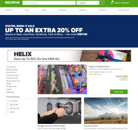GROUPON: Sitewide Sale – Extra 20% Off Local and 10% Off