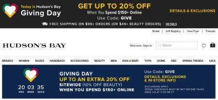 Hudson's Bay: Giving Day – Up to an Extra 20% Off Sitewide
