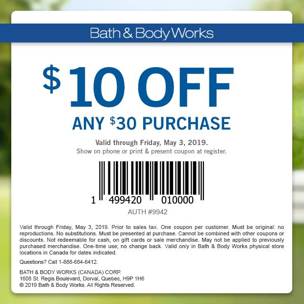 Bath Body Works 10 Off Any 30 Purchase Coupon Until May 3 Vancouver Deals Blog