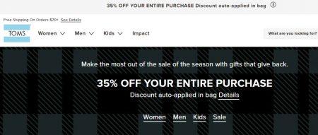 TOMS.ca: Black Friday Sale - 35% Off